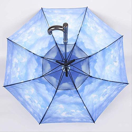 6YGR Paraguas Totalmente Automático Sombrilla Negro Pegamento Protección Solar Larga Barra Recta...