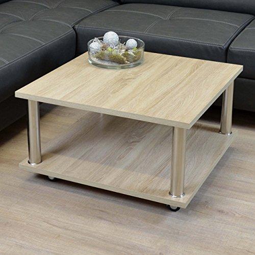 Couchtisch 68x68cm Sonoma Eiche Tisch Beistelltisch mit Rollen