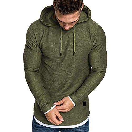 Mens Hoodies kleding te koop Herfst Solid lange mouwen Loose Hoody Top Blouse Trainingspakken (Color : Army Green, Size : L)