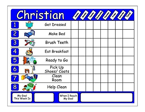 Chore Chart. Customize with Child's Name and Up to 8 Chore Pictures, Has Goal and Reward Section, Use with Dry Erase Markers