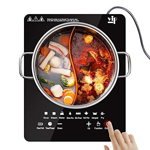 TELAM Placa de inducción 2200 W, Estufa de inducción portátil, Quemador de inducción táctil con Sensor y Bloqueo de Seguridad para niños, Control de Temperatura de 10 Niveles con Temporizador
