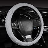 Ergonomic Microfiber Leather Steering Wheel Cover with Grip Bumps, Gray, 15 Inch Standard Steering Wheel Cover for Car, Truck, SUV Automotive Interior Decoration Sports