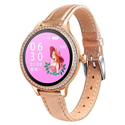 Yanchad Smartwatch Intelligente Uhr M8 Frauen IP68 wasserdicht Herzfrequenz Fitness Tracker Armbanduhr Mode tragbar (Color : Leather Gold)