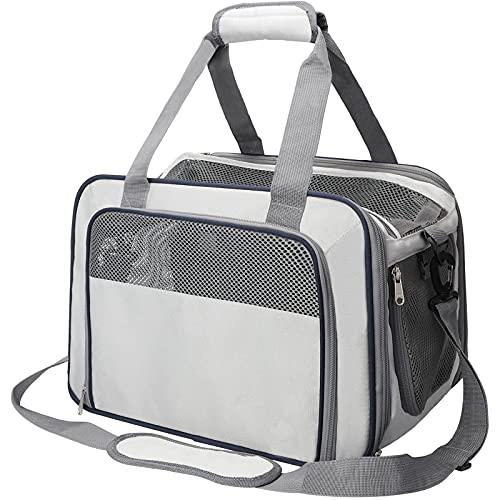 Lyneun Transportador de mascotas, ligero y suave jaula para mascotas aprobada por la aerolínea bolsa de viaje plegable de malla transpirable para perros y gatos de hasta 15 libras (gris, mediano)