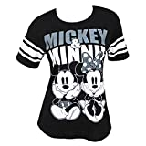 Disney Mickey y Minnie Mouse Fútbol Femenino Camiseta del Estilo X-Large Negro