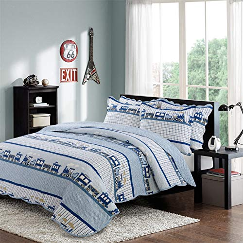 Reversible Quilted Bedspread 100% Cotton 3 Pieces Patchwork Quilted Quilt 230 * 250CM Microfiber Bed Throw 2 Person Multifunction Air Conditioner Blankets with Pillow Covers