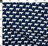 Nutztiere, Kühe, Marineblau, Junge, Bauernhof Stoffe -
