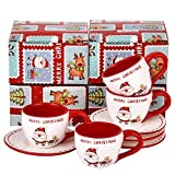 Set of 4 Tea Cups and Saucers with Merry Christmas - China Tea Set for Christmas Party - Espresso Demitasse Cups with Saucers 3 Ounce