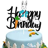 Rabbit Birthday Cake Topper for Bunny Happy Easter Spring Radish Carrot Theme Easter Festival Happy Birthday Party Supplies Black Decorations