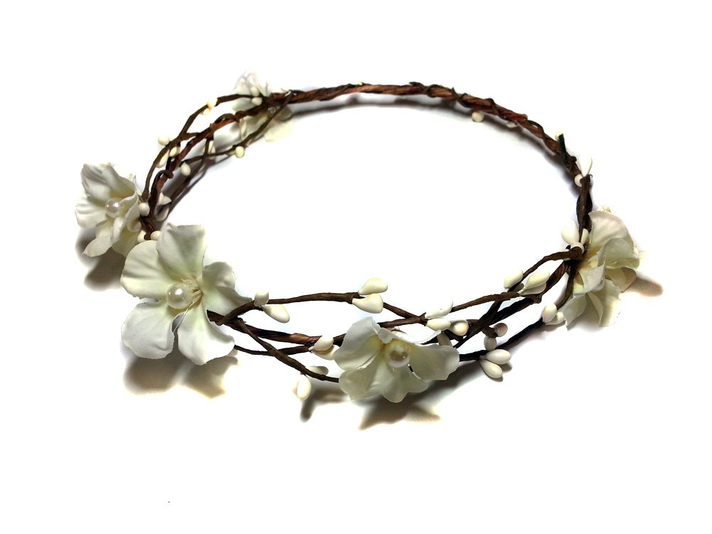 EmilyRose Couture White Flowers and Tampa Mall Pearls Flower List price Woodland Crown