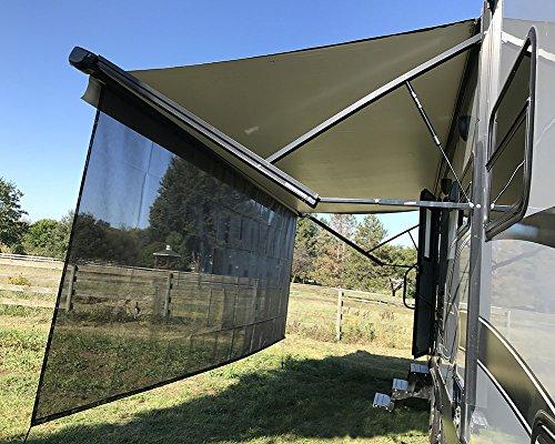 Tentproinc RV Awning Sun Shade 8'X15'3'' Black Mesh Screen Sunshade UV Blocker Complete Kits - 3 Years Limited Warranty