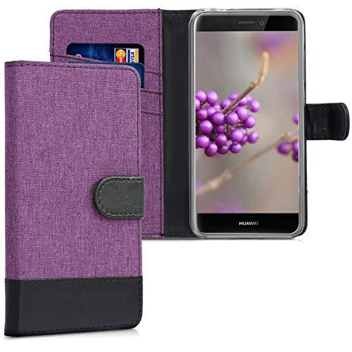 kwmobile Funda para Huawei P8 Lite (2017) - Carcasa de Tela y Cuero sintético - con Tapa y Tarjetero Violeta/Negro