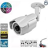 License Plate Recognition HD TVI 4-in-1 Camera 2.4MP 1080P 5-50mm Varifocal Lens 84 IR LEDs