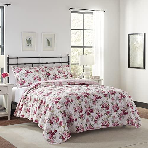 Laura Ashley Home Lidia Collection Bettwäsche-Set, 100 prozent Baumwolle, wendbar, leicht, atmungsaktiv, vorgewaschen für zusätzliche Nachgiebigkeit, Queen-Size-Bett, Rosa