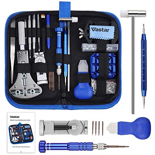 Vastar 177 PCS Watch Repair Tool Kit, Watch Band Link Tool Set, Case Opener Spring Bar Tools with Carrying Case and User Manual