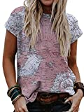 Globe Map Design Shirts for Women Short Sleeve World Map Shirts Tops Graphic Painting Print Tees (Small,Purple)