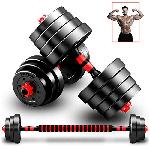 Adjustable Dumbbells Weights Set Professional Barbell Dumbell for Men and Woman Fitness Equipment for Home Gym Workout, with Connecting Rod (One Pair),red,30kg,15kg*2