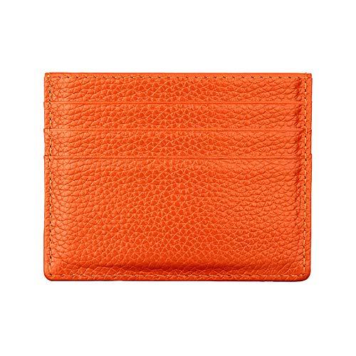 Hibate (Naranja) Mini Cuero FRID Tarjetero Fundas para Tarjetas de Crédito Cartera Hombre Mujer Señoras Niña Niño Piel Billetera