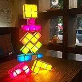 HYYK Tetris Lampe, 7 Farben Stapelbare Puzzles DIY Tetris Nachtlicht 7 Stücke LED Induktionssperren...