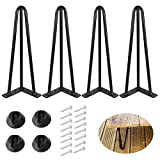 """ALXEH 10 Inch Hairpin Table Legs 1/2"""" Dia 3-Rods Hairpin Feet, DIY Black Hairpin Coffee Table Legs Heavy Duty Metal Furniture Leg for Side Table, Bench and Nightstand, Set of 4"""