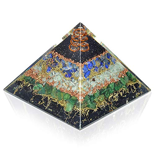 New Orgone Pyramid for Healing Heart | Black Tourmaline | Lapis Lazuli | Amazonite | Green Jade Orgonite Pyramid for EMF Protection - Crystal Chakra Stone Pyramid