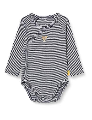 Steiff Unisex Baby Langarm mit Streifen Body, Navy, 080