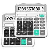 SPLAKS Taschenrechner 2 Pack 12-stellig Standard Funktion Tischrechner Bürorechner Rechenmaschine Solar- und AA Batterie betrieb Calculator mit großem Display (2er Silber)