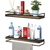 Meangood Floating Shelves Wall Mounted Set of 2, Rustic Wood Wall Storage Shelves for Bedroom,Living...