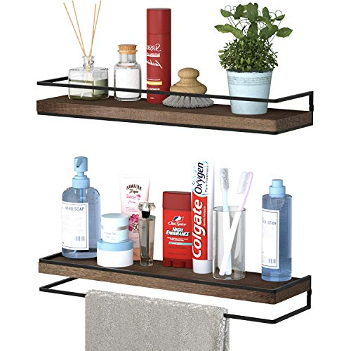Minggoo Floating Shelves Wall Mounted Set of 2, Rustic Wood Wall Storage Shelves for Bedroom,Living Room,Bathroom, Kitchen