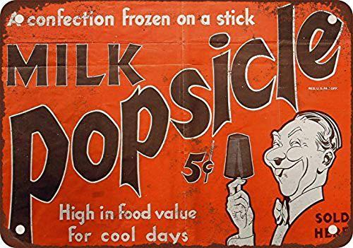HONGXIN Cartel de metal con diseño de paletas de leche congelada retro con pintura de hierro, letrero de advertencia para pared, decoración de bar, cafetería, garaje, hotel, oficina