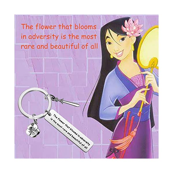 KUIYAI Mulan Quote Cuff Bracelet The Flower That Blooms in Adversity is The Most Rare and Beautiful of All Princess Bracelet Jewelry