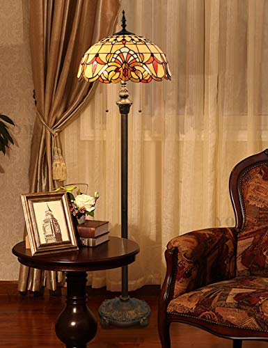Lámpara de pie Tiffany de 16 pulgadas Lámpara de sala de estar exquisita de lujo con diseño barroco