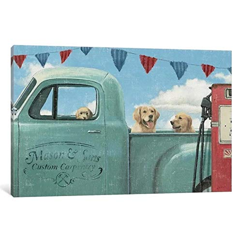 HNBLSHM Cuadro de decoración del hogar pintura en lienzo modular gasolinera moderna camión azul perros póster impreso arte de pared sala de estar 60cm x90cm Sin marco