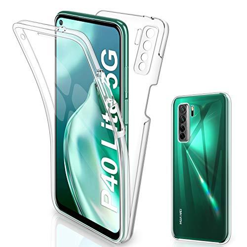 Gnews - Carcasa para Huawei P40 Lite 5G, carcasa transparente de silicona TPU (360 grados), diseño completo