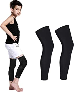 Luwint Long Compression Leg Sleeves for Kids Comfortable Non-Slip UV Protection Thigh Calf Brace Support for Basketball Running Cycling, 1 Pair (Black M)