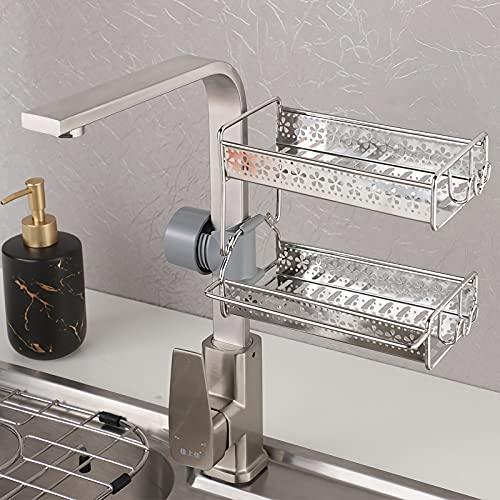 Porta spugna per lavello da cucina, cestino, dispenser di sapone da cucina con supporto in spugna, per rubinetto, cremagliera con fiore vuoto per spugna, strofinaccio, spazzola, sapone (doppio strato)