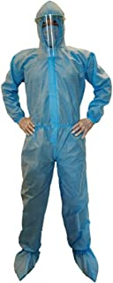 VOUCH Blue Medical PPE KIT with Disposable Hooded Full Body Coverall, Latex Gloves, Shoe Cover, Face Mask, Face Shield