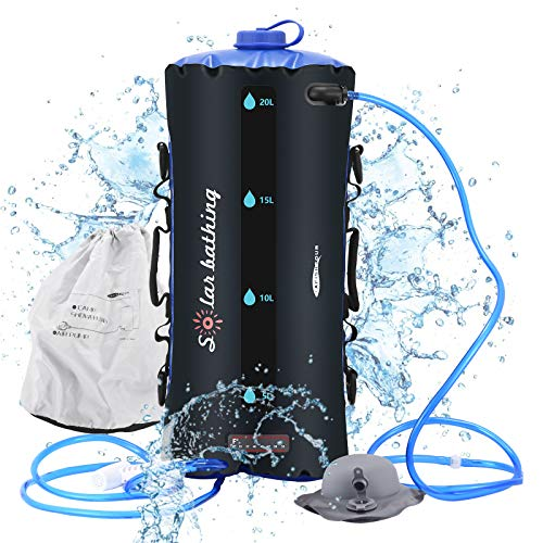 KOSIEJINN Bolsa de Ducha para Acampar 20L Volumen de Agua Visible / Temperatura Máxima 50 ℃ Bolsa de Ducha de Acampada Portatil Bolsa de Ducha Exterior Camping para Jardín Senderismo y Escalada