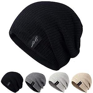 AmaFanshop ニット帽 メンズ レディース 兼用 サッカー選手着用 内側フリース素材 伸縮性有あり フリーサイズ(ブラック(厚手))