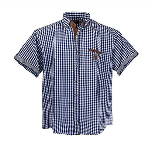 Lavecchia 1129 Übergröße Herren Kurzarm Hemd Jeansblau-Weiß-kariert Gr. 3-7 XL (4XL)