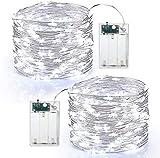 Guirnalda Luces Pilas, BrizLabs 2 x 60 LED Luces LED Navidad Alambre de...