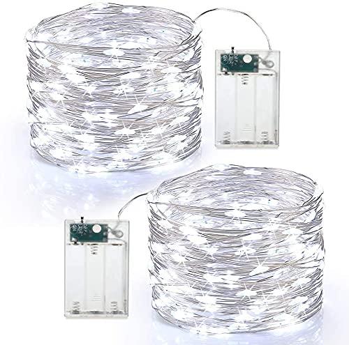 Guirnalda Luces Pilas, BrizLabs 2 x 60 LED Luces LED Navidad Alambre de Cobre Guirnaldas Luces Exterior Cadena de Luces...
