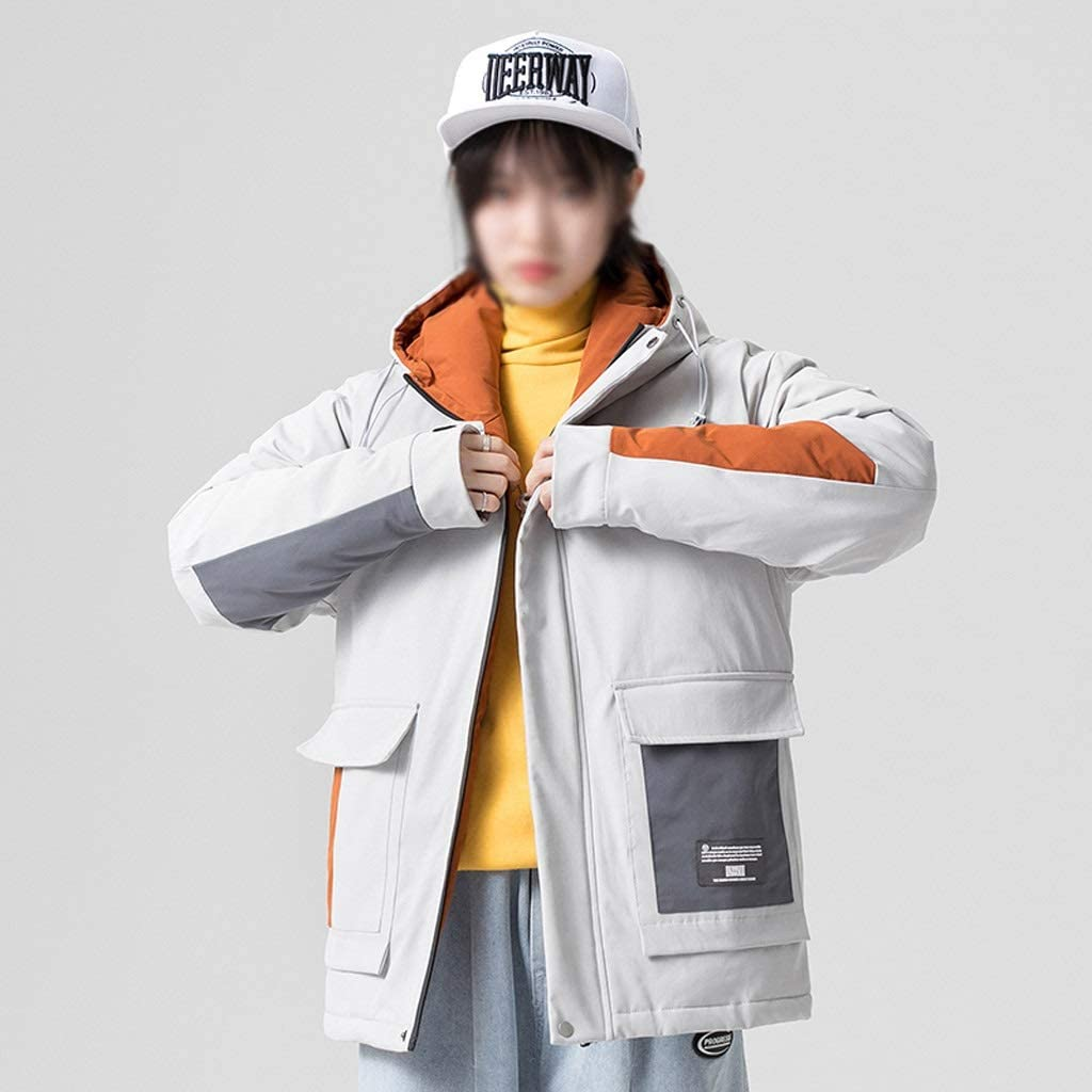 DIAOD Patchwork White Duck Down Jacket Men New Winter Down Coats Mens Thick Warm Hooded Jacket Streetwear Multi Pocket Outerwear (Color : Khaki, Size : XXX-Large)