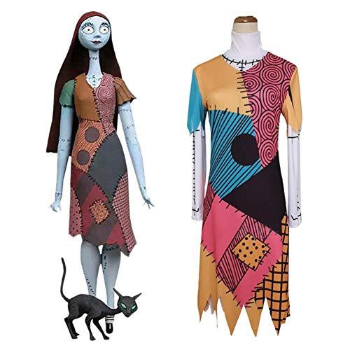 CGBF - Disfraz de Pesadilla antes de Navidad Sally para disfraz de Halloween Carnaval, juego de uniforme de fiesta completo, L