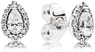 Radiant Teardrops Stud Earrings, Sterling Silver, Clear Cubic Zirconia, One Size