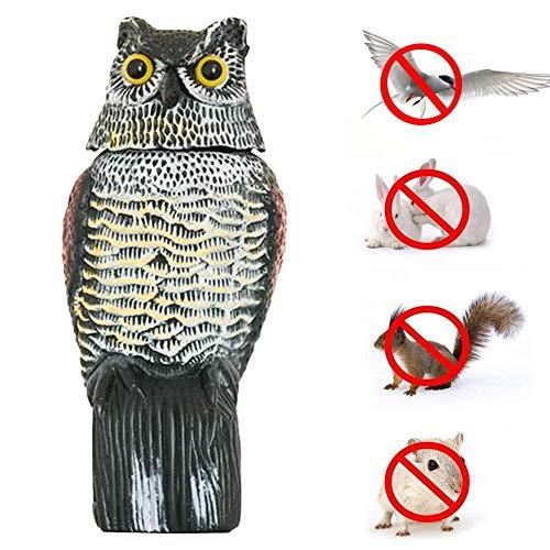 Bird deterrent owl bird deterrent owl figure with reflector eyes and 360 rotating head, hand-painted realistic, standing decorative figure pigeon deterrent for garden, balcony, terrace