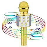 Bluetooth Microphone for Kids, Viposoon Wireless Karaoke Microphone Bluetooth for Girls Boys Toy for 5-11 Year Old Kids Girl Party Gift Age 4-12 Girl Boy - Gold