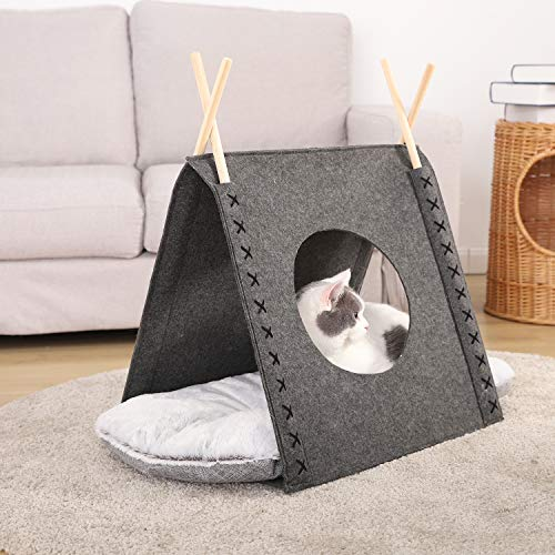 OHANA Pet Tent Cat Teepee Bed Portable Pet Caves Houses with Cushion for Small Dog