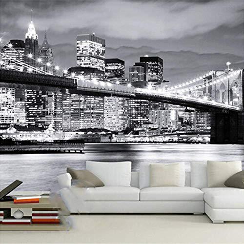 Yologg Photo 3D Papier Peint Ville Moderne Européenne Et Amérique Nuit Vue Manhattan Pont Salon Murale Canapé Fond-350X250Cm