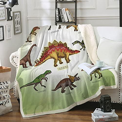 hongyang Manta de Felpa de Dinosaurio Sherpa Fleece Throw Blanket Future Paleontologist Lista de Dinosaurios Manta Personalizada para sofá Sofá Cama Reversible Todas Las Estaciones